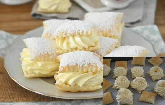 Rýchle a krehučké podušky z lístkového cesta s lahodným vanilkovým krémom!