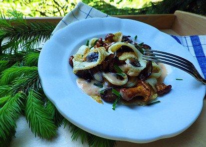 Palačinkové nudle s lesními houbami a paprikovou omáčkou